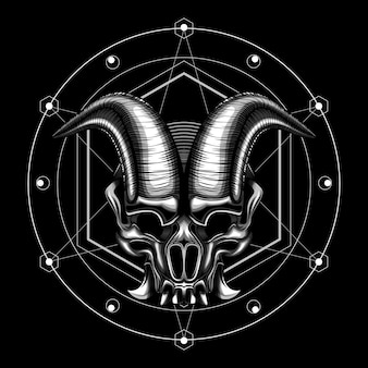 Ilustracja wektorowa róg czaszki zła diabła