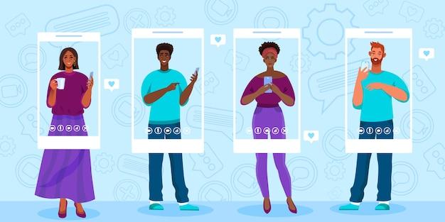 Ilustracja wektorowa rozmowy wideo lub konferencji ze stojącymi młodymi międzynarodowymi ludźmi korzystającymi z telefonów