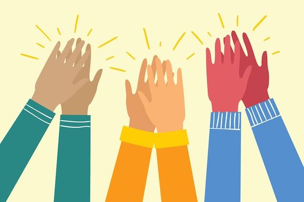 Ilustracja wektorowa różnych rąk do góry ręce klaskające oklaski ilustracji wektorowych ręce