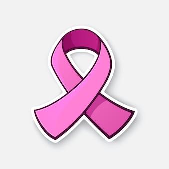 Ilustracja wektorowa różowa wstążka międzynarodowy symbol świadomości raka piersi