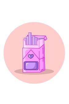 Ilustracja wektorowa różowy papieros