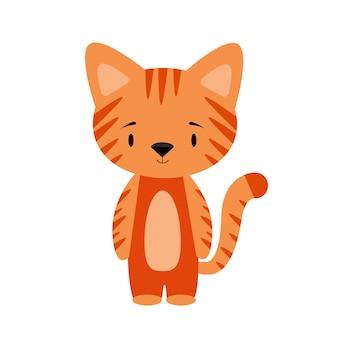 Ilustracja wektorowa rudego pręgowanego kota na białym tle