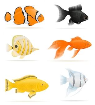 Ilustracja wektorowa ryb akwariowych