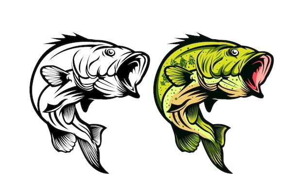 Ilustracja wektorowa ryb basowych połowów