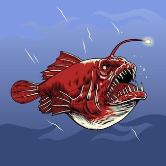Ilustracja wektorowa ryb wędkarz