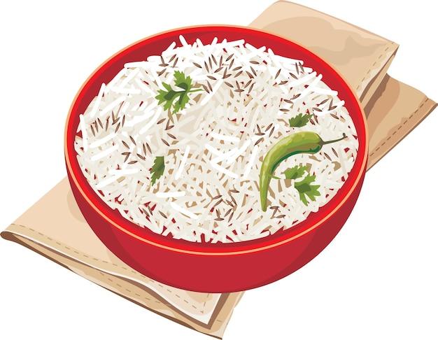 Ilustracja wektorowa ryżu jeera w czerwonej misce