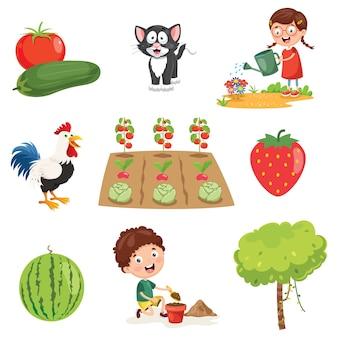 Ilustracja wektorowa rzeczy gospodarstwa