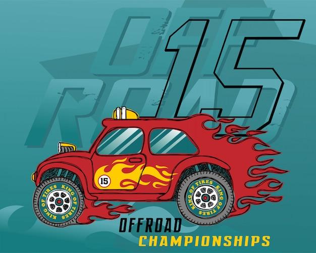 Ilustracja wektorowa samochód wyścigowy płomień