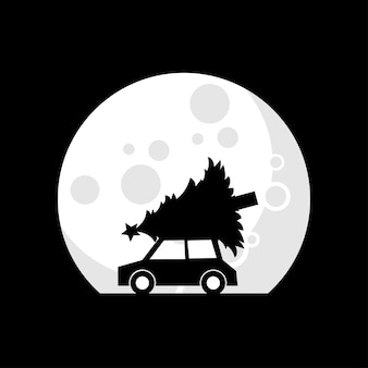 Ilustracja wektorowa samochodu niosącego choinkę