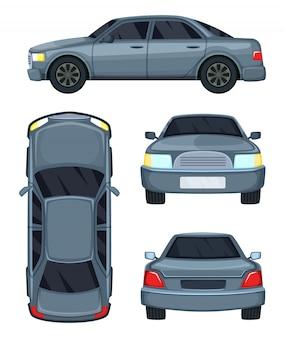 Ilustracja wektorowa samochodu. widok z góry, z przodu iz tyłu. samochodowy samochód odizolowywający na bielu