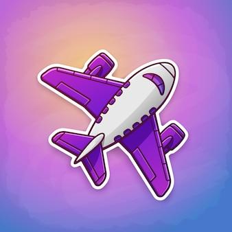 Ilustracja wektorowa samolot lecący na tle nieba o wschodzie lub zachodzie słońca naklejka z konturem