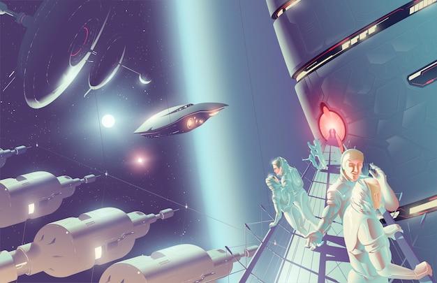 Ilustracja wektorowa scifi turystyki kosmicznej na kolonii kosmicznej w systemie podwójnych gwiazd.