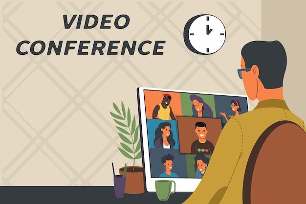 Ilustracja wektorowa seminarium internetowego, koncepcja spotkania online, praca z domu, płaska konstrukcja. wideokonferencje, telepraca, dystans społeczny, dyskusja biznesowa. postać rozmawiająca z kolegami online