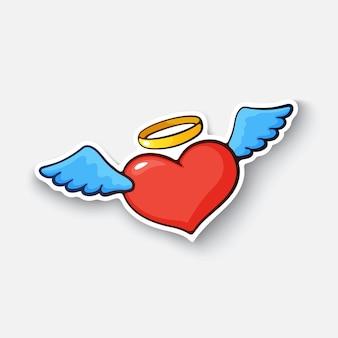 Ilustracja wektorowa serce anioła ze skrzydłami i aureolą symbol walentynki