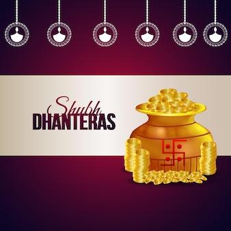Ilustracja wektorowa shubh dhanteras złotej puli na monety na fioletowym tle