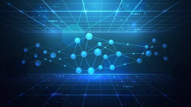 Ilustracja wektorowa sieci krystalicznej atomów i cząstek.