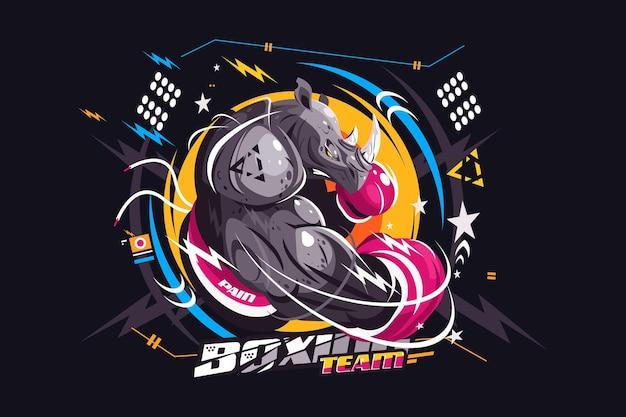 Ilustracja wektorowa silny bokser nosorożca niesamowity pięściarz nosorożca w rękawiczkach