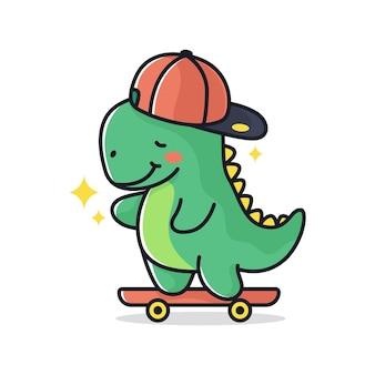 Ilustracja wektorowa skater dinosaur z fajnymi hasłami do nadruków na koszulkach i innych zastosowań