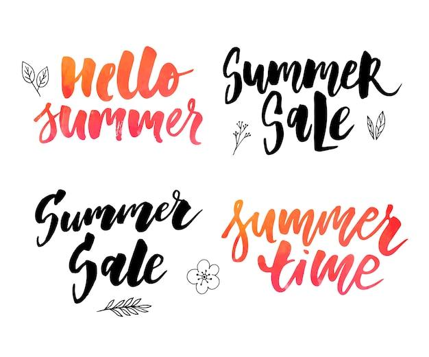 Ilustracja wektorowa: skład pędzla napis lato slogan wakacje witaj lato zestaw sprzedaż