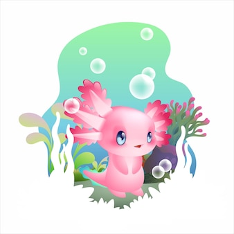 Ilustracja wektorowa słodkie dziecko axolotl