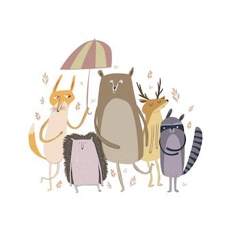 Ilustracja wektorowa słodkie leśne zwierzęta leśne, w tym lisa jelenia szop pracz i jeżozwierz