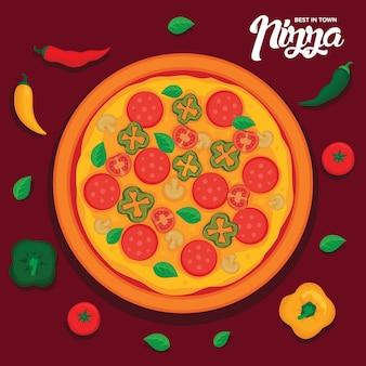Ilustracja wektorowa smaczne pizze
