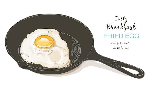 Ilustracja wektorowa smażone jajka