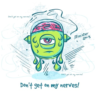 Ilustracja wektorowa śmieszne kreskówka potwora postać w wodzie