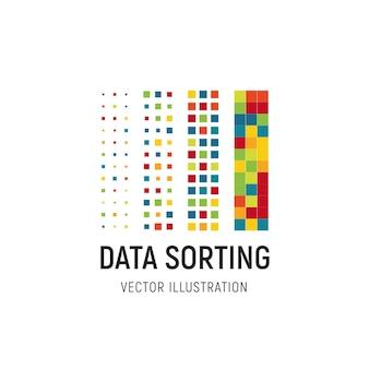 Ilustracja wektorowa sortowania danych duża baza danych wektor emblemat informacje sortowanie abstrakcyjne logo