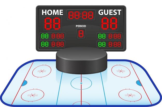 Ilustracja wektorowa sport cyfrowy tablica wyników na lodzie