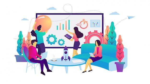 Ilustracja wektorowa spotkanie strategiczne zespołu firmy
