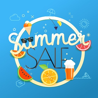 Ilustracja Wektorowa Sprzedaż Lato. Koncepcja Sprzedaży Sezonu Premium Wektorów