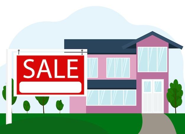 Ilustracja wektorowa sprzedaży dużego budynku mieszkalnego obok znaku z tekstem sale