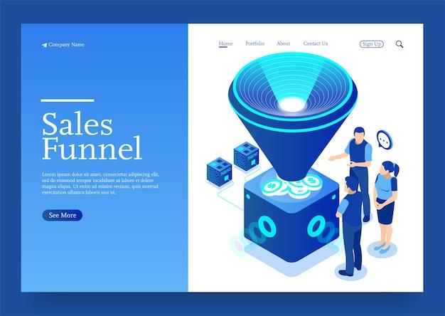 Ilustracja wektorowa sprzedaży generacji lejka dla koncepcji izometrycznej marketingu cyfrowego i e-biznesu