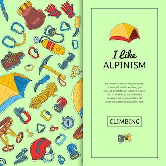 Ilustracja wektorowa sprzęt alpinizmu. wspinaczka górska, piesze wycieczki i alpinizm symbole kreskówek.