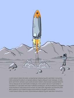 Ilustracja wektorowa startu rakiety kosmicznej i zdjęcia astronauty na planecie