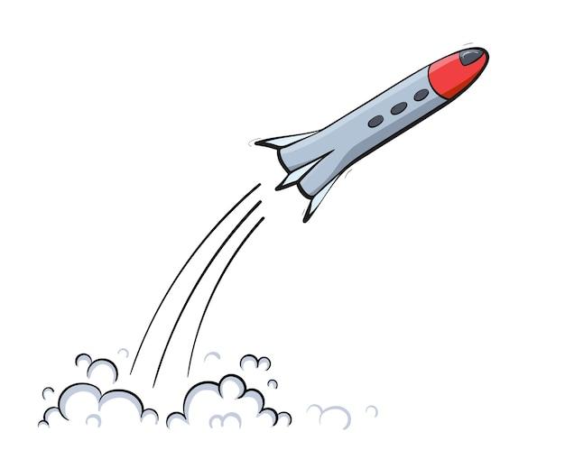 Ilustracja wektorowa startu statku kosmicznego. start rakiety. doodle kreskówka zarys promu kosmicznego