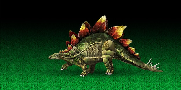 Ilustracja wektorowa stegozaur dinozaura lub mały stegozaur stegozaur z epoki jurajskiej d r...