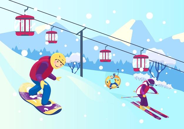 Ilustracja wektorowa stoku góry z ludźmi uprawiającymi różne sporty zimowe. snowboard, narty, snowtubing. kolejka linowa. krajobraz gór śnieżnych.