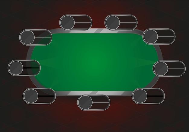 Ilustracja wektorowa stołu pokera lub black jacka. pole do gry w pokera lub black jacka