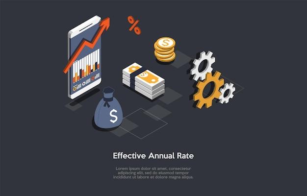 Ilustracja wektorowa. styl 3d kreskówki. skład izometryczny. projekt koncepcyjny. efektywna stawka roczna. pomysły na finanse i bankowość. smartfon, wykres na ekranie, mechanizm, elementy związane z pieniędzmi.