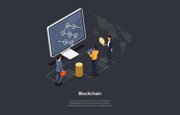 Ilustracja wektorowa, styl kreskówek 3d. izometryczne skład na ciemnym tle. system blockchain, projekt koncepcyjny kryptowaluty bitcoin. komputer z infografiką na ekranie, ludzie stojący w pobliżu