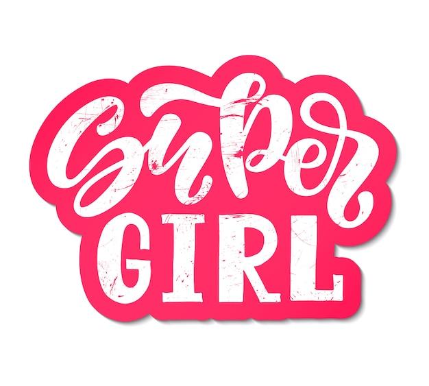 Ilustracja wektorowa super girl tekst na ubrania. ikona znacznika dzieci odznaka.