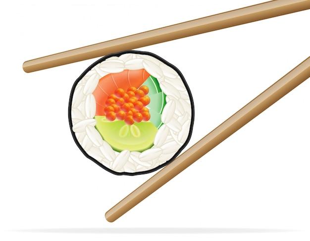Ilustracja wektorowa sushi i pałeczki