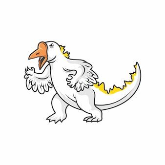 Ilustracja wektorowa swanzilla (łabędź i godzilla mix)