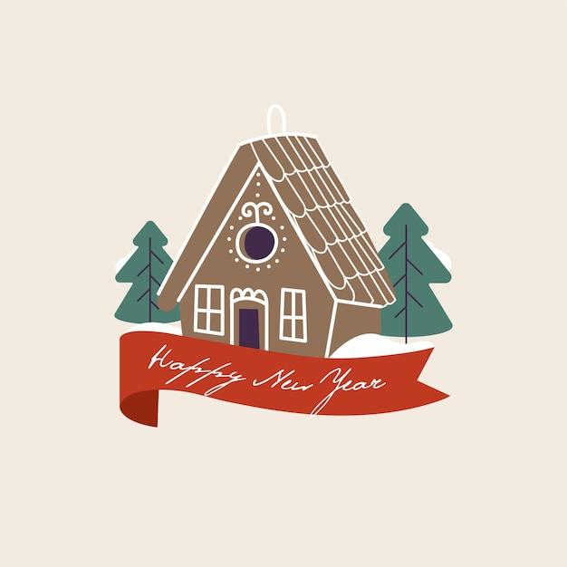 Ilustracja wektorowa świąteczna typografia kompozycje piernikowy domek ozdobiony śniegiem i jodłą ...