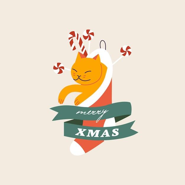Ilustracja wektorowa świąteczna typografia kompozycje śliczny kotek wewnątrz skarpety świąteczne z karmelem...