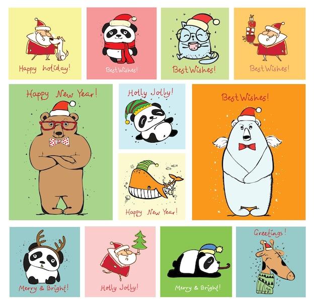 Ilustracja wektorowa świątecznych kotów, szczurów, świń i psów z życzeniami świątecznymi i noworocznymi. słodkie zwierzaki w świątecznych czapkach w płaskim stylu