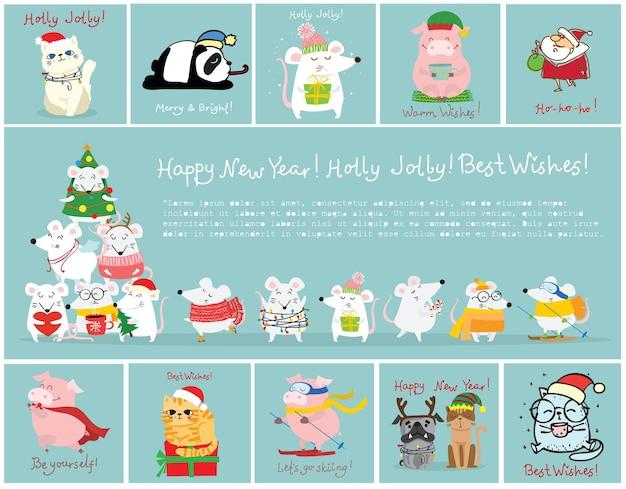 Ilustracja wektorowa świątecznych kotów, szczurów, świń i psów z życzeniami świątecznymi i noworocznymi. słodkie zwierzaki w świątecznych czapkach