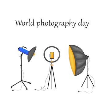 Ilustracja wektorowa światowego dnia fotografii -19 sierpnia